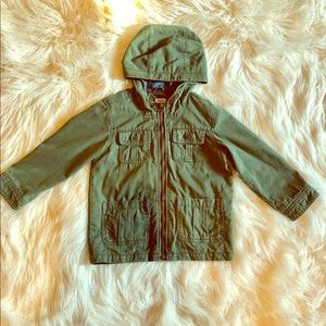 Green Hooded Twill Jacket Size 5T